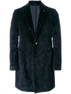 Однобортное пальто из овчины Gabriele Pasini. Цвет: синий