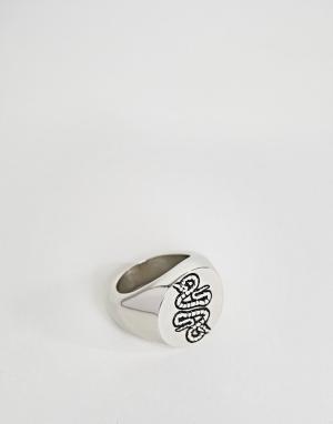 ASOS Кольцо со змеей. Цвет: черный