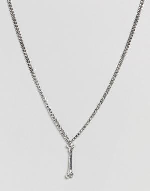 Rebel Heritage Серебристое ожерелье с подвеской в виде кости. Цвет: серебряный