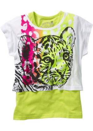 Короткая футболка + тэнк топ (2 изделия в упаковке) (белый с рисунком тигра/зеленый киви) bonprix. Цвет: белый с рисунком тигра/зеленый киви