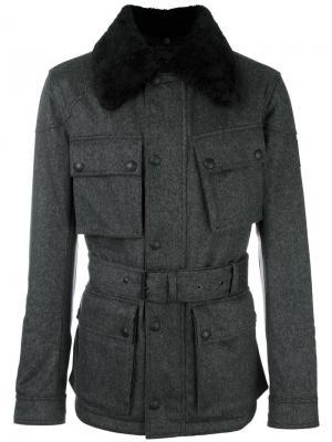 Куртка в стиле милитари с меховым воротником Belstaff. Цвет: серый