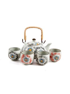 Набор для чайных церемоний Нежность на 4 персоны Русские подарки. Цвет: бежевый, красный, синий