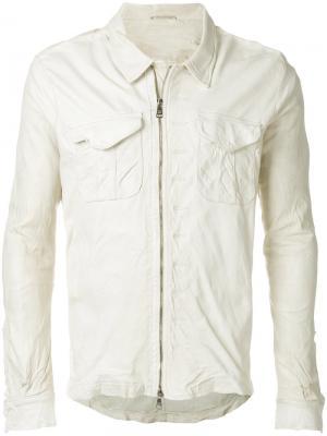 Кожаная куртка с накладными карманами Giorgio Brato. Цвет: белый