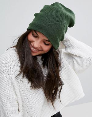 Plush Зеленая шапка с флисовой подкладкой. Цвет: зеленый