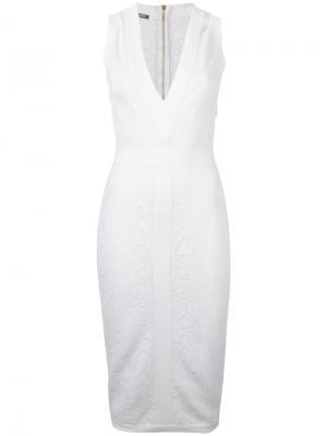 Платье с леопардовым принтом Balmain. Цвет: белый