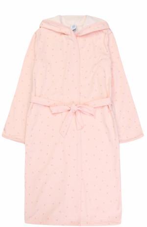 Трикотажный халат с принтом и поясом Sanetta. Цвет: розовый