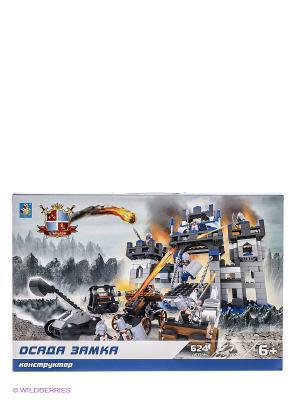 Конструктор Рыцари - Осада замка (624 детали) 1Toy. Цвет: голубой