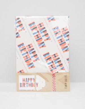 OHH DEER Подарочная упаковочная бумага с принтом Happy Birthday. Цвет: мульти