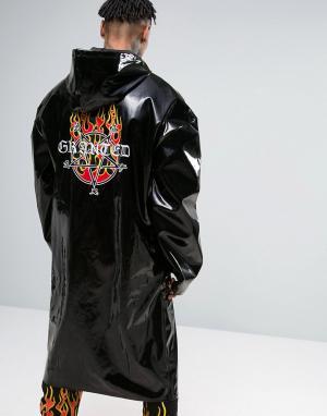 Granted Черный oversize-макинтош с принтом на спине. Цвет: черный