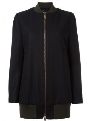 Удлиненная куртка-бомбер Erika Cavallini. Цвет: синий