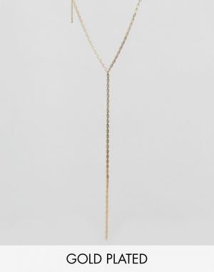 Rock 'N' Rose Золотистое ожерелье с подвеской N. Цвет: золотой