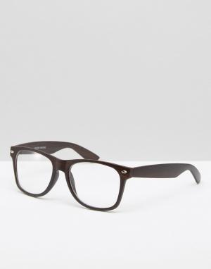 Jeepers Peepers Прямоугольные очки с прозрачными линзами. Цвет: черный