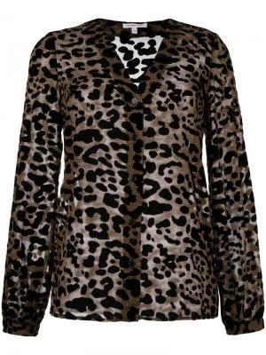 Блузка с леопардовым принтом Borbonese. Цвет: коричневый