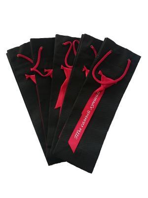 Набор сувенирных пакетиков из спанбонда с галстуком и надписью Эко-Пак-ДЗ. Цвет: черный, красный