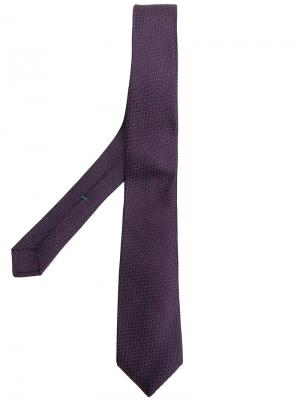 Жаккардовый галстук с узором Borrelli. Цвет: розовый и фиолетовый
