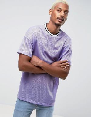 ASOS Сетчатая оверсайз-футболка с монохромной окантовкой. Цвет: фиолетовый