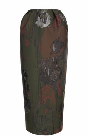 Юбка-миди с разрезом и контрастной отделкой Vika Gazinskaya. Цвет: коричневый