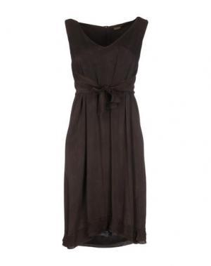 Платье до колена MALÌPARMI. Цвет: темно-коричневый