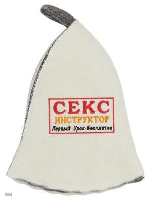 Шапка для бани с вышивкой в косметичке Секс инструктор Метиз. Цвет: белый, серый