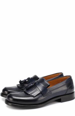 Кожаные лоферы с бахромой и кисточками O`Keeffe. Цвет: темно-синий