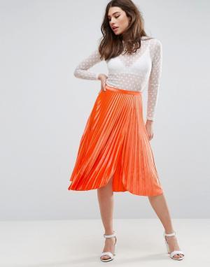ASOS Плиссированная бархатная юбка миди с разрезом до бедра. Цвет: оранжевый