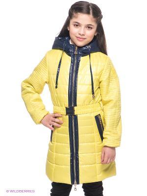 Пальто MES AMI. Цвет: желтый, темно-синий