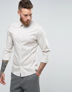 Hoxton Shirt Company Строгая рубашка узкого кроя из эластичного поплина Compan. Цвет: stone