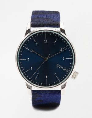 Komono Часы с камуфляжным принтом Winston. Цвет: синий