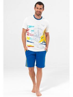 Комплект из футболки и шорт BlackSpade. Цвет: белый, синий