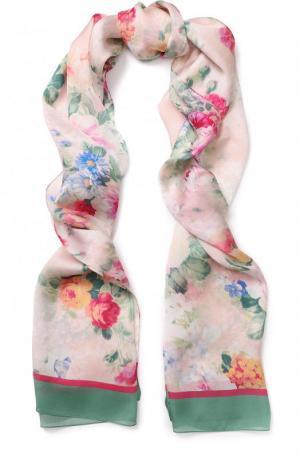 Шелковый шарф с принтом Il Trenino. Цвет: розовый