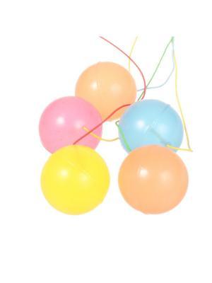 Шарики-прыгуны с резинкой разноцветные, большие неоновые, набор 5 штук Радужки. Цвет: синий, зеленый, красный