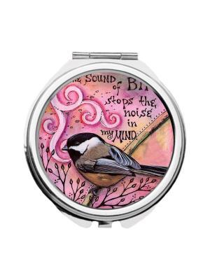 Зеркальце карманное Синичка Chocopony. Цвет: черный, розовый, темно-серый
