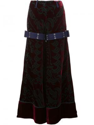 Бархатные широкие брюки Sacai. Цвет: красный