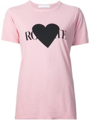 Футболка с принтом логотипа Rodarte. Цвет: розовый и фиолетовый