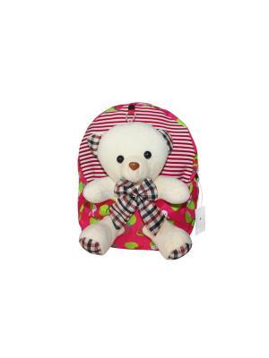 Детский рюкзак с мишкой GOOD MOOD. Цвет: малиновый