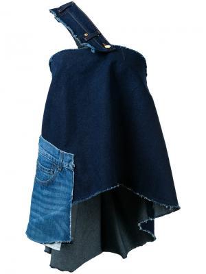 Джинсовая блузка на одно плечо Natasha Zinko. Цвет: синий