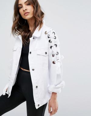 Boohoo Джинсовая куртка на шнуровке. Цвет: белый