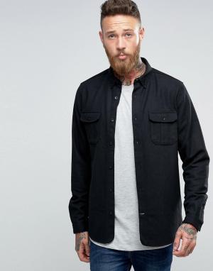 Hoxton Shirt Company Полушерстяная рубашка слим. Цвет: черный