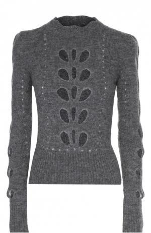 Приталенный укороченный пуловер с перфорацией Isabel Marant. Цвет: серый