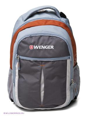 Рюкзак WENGER. Цвет: голубой, оранжевый, серый