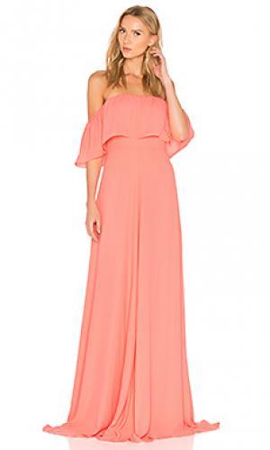 Макси платье delilah Amanda Uprichard. Цвет: коралл