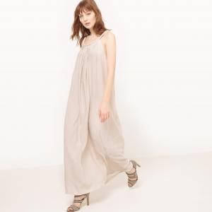 Платье длинное из кружева, юбка тюля MOLLY BRACKEN. Цвет: бежевый
