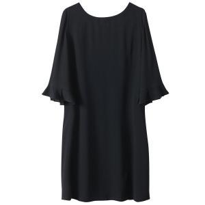 Платье с рукавами ¾, открытая спина SEE U SOON. Цвет: черный
