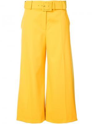 Брюки-палаццо с ремнем Oscar de la Renta. Цвет: жёлтый и оранжевый