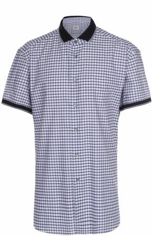 Хлопковая рубашка с короткими рукавами Brioni. Цвет: сиреневый