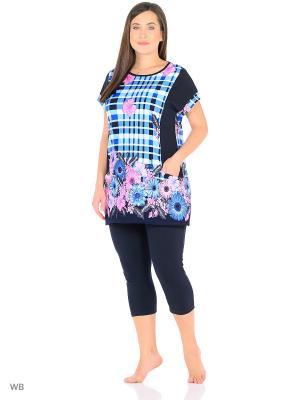 Домашний костюм ( кофта, бриджи) HomeLike. Цвет: темно-синий, голубой, розовый