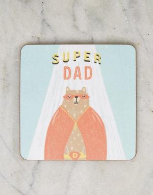 OHH DEER Подставка под напитки с надписью Super Dad. Цвет: мульти