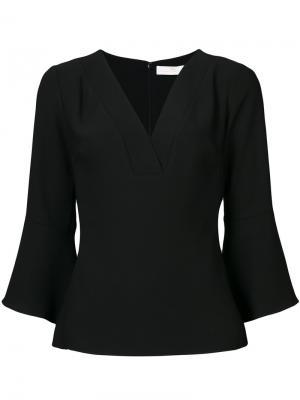 Блузка с V-образным вырезом Amanda Uprichard. Цвет: чёрный