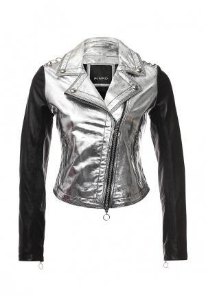 Куртка кожаная Pinko. Цвет: серебряный