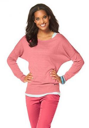 Короткий пуловер «летучая мышь», Flashlights FLG. Цвет: лососевый
